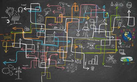 Charts Labyrinth und Grafiken zum Energiesparen Standard-Bild - 36093007