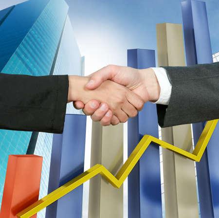 la union hace la fuerza: Apret�n de manos para cerrar un contrato de trabajo de negocios