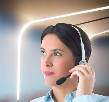 personal data assistant: Woman works to customer support in company Stock Photo