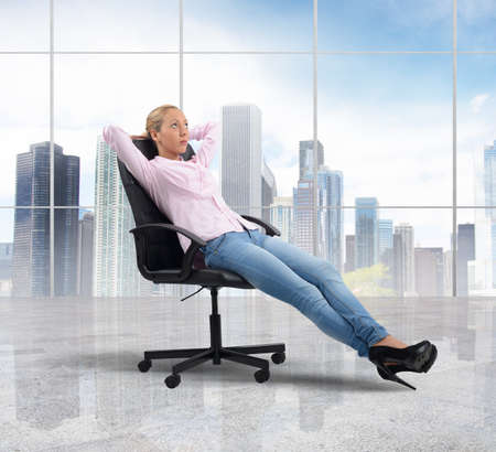 Businesswoman relaxes after a hard company work