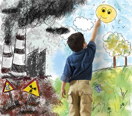 Child draws the difference in a landscape 스톡 콘텐츠