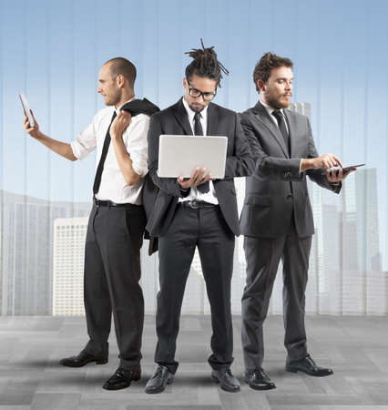 partnership strategy: Business people very busy in a company Stock Photo