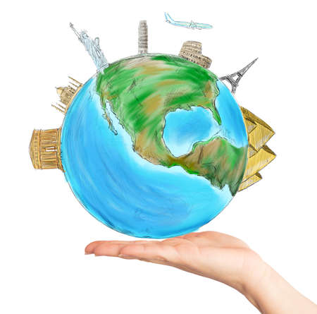 one hand: Have the whole world in one hand Stock Photo
