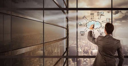 imagines: Businessman imagines a new vision of sharing Stock Photo