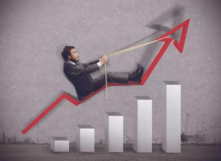 経済の上昇への実業家の乗り物