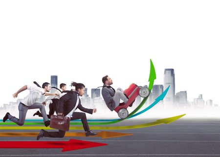 financial growth: Businesspeople in the direction of financial growth Stock Photo