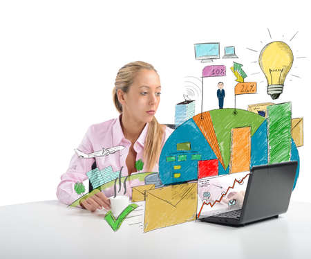 human energy: Businesswoman analyzing the profit of the company