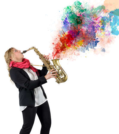 saxophonist: Women saxophonist and her passion for music Stock Photo