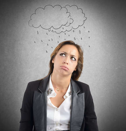 difficult period: Businesswoman tired of the negative work period Stock Photo