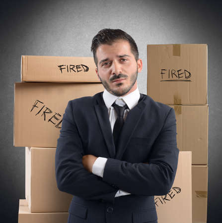 resentment: Businessman sad and unhappy fired from job