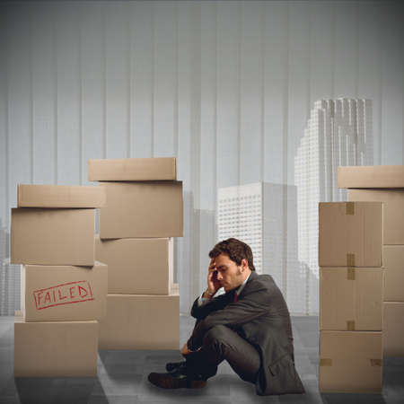 accuse: Sad businessman unemployed fired from his job Stock Photo