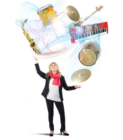 juggler: Woman plays with instruments like a juggler