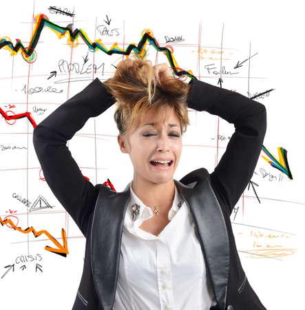 derrumbe: Exhausto de negocios se desespera por el colapso financiero Foto de archivo