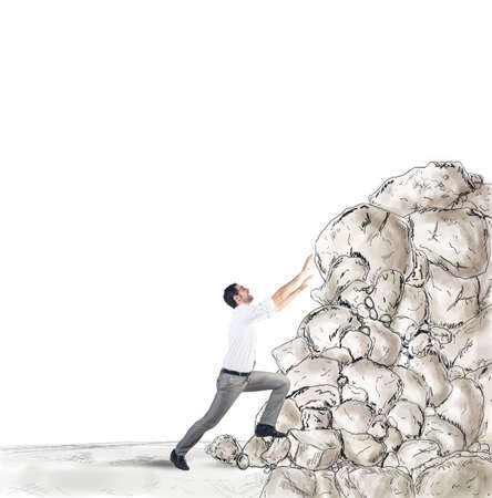 struggling: Tired businessman struggling to climb the success Stock Photo