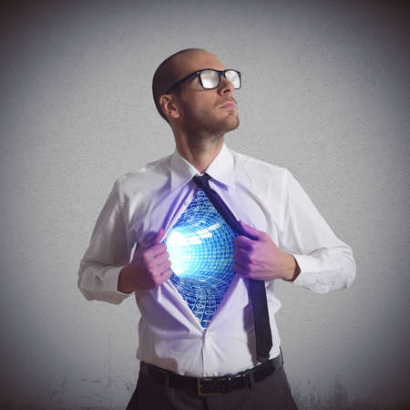 cyberspace: Businessman becomes a super hero of cyberspace