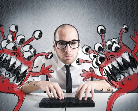 stress testing: Businessman attempts to eradicate computer from viruses