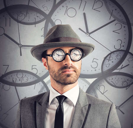 Businessman always on time as a clock