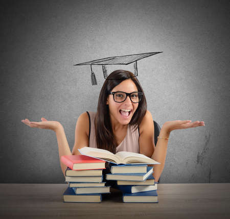 girl studying: Student after much study arrives at graduation