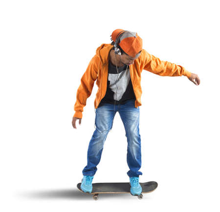boy skater: Skater boy runs and listens to music