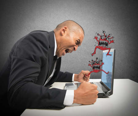 pissed: Businessman pissed because of his computer crashed