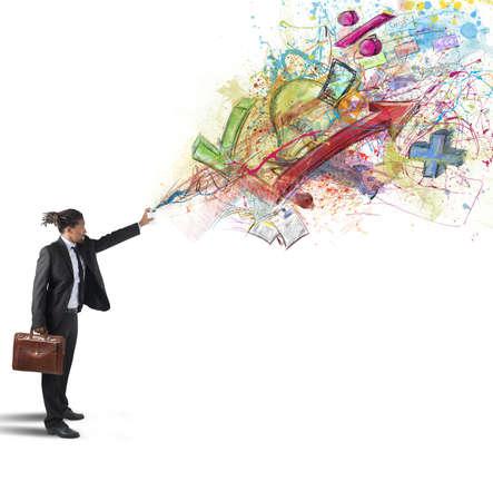 ESTADISTICAS: Creativas empresario colores diagramas estadísticas y porcentajes