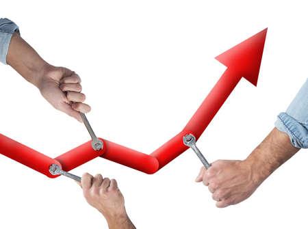 統計量を高めるために一緒に働くビジネス人々