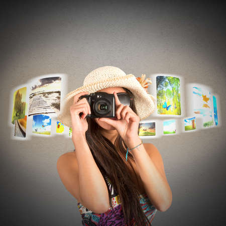 snaps: Tourist snaps and shows pictures of landscapes Stock Photo