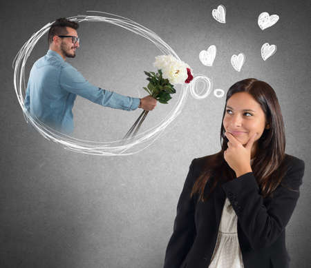 distracted: Businesswoman is distracted thinking about boyfriend surprise Stock Photo