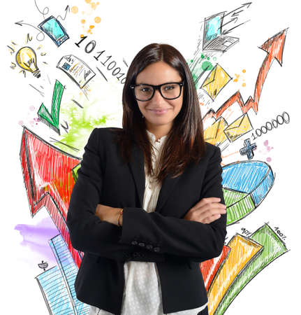 increased: Businesswoman satisfied of increased profits of company Stock Photo