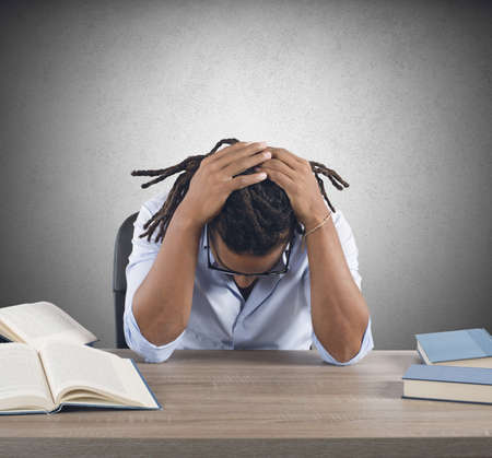 school teacher: Teacher tired and stressed from the study Stock Photo
