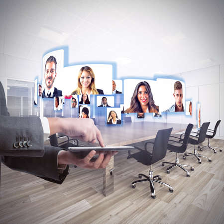 business connection: Business team talks about working in videoconference