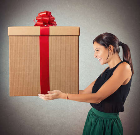 expected: Happy woman having received the gift expected Stock Photo
