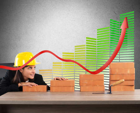 energy efficient: Woman architect currency savings and energy efficiency
