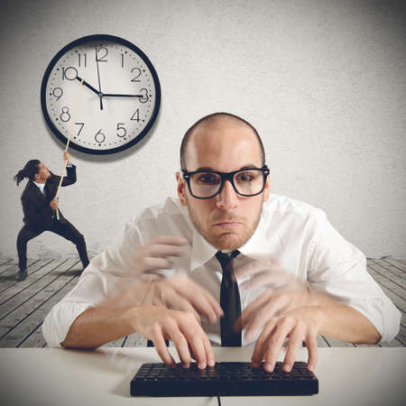 wants: Hard boss wants maximum speed by employees Stock Photo