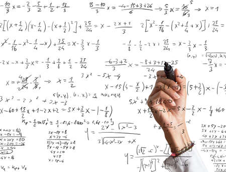 solves: Woman explains and solves a mathematical calculation