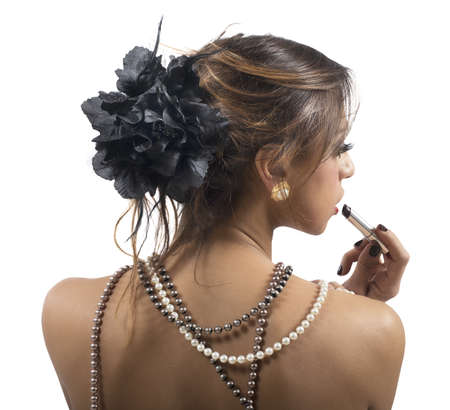 string of pearls: Woman dressed only in strings of pearls Stock Photo