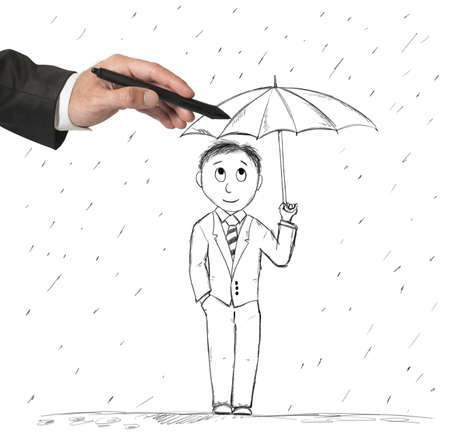 uomo sotto la pioggia: Concetto di protezione e assistenza al lavoro