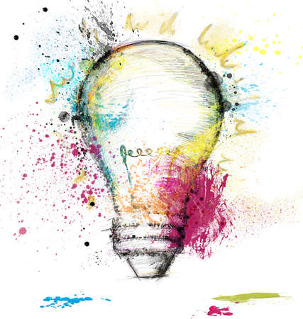 bright ideas: Paint light bulb symbol of smart idea Stock Photo