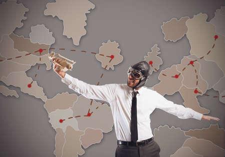 worl: Businessman organizes the strategy of world market Stock Photo