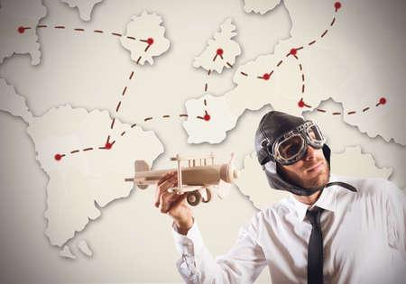 worl: Businessman as pilot around world to work