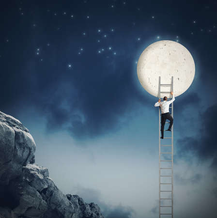 Man scale the sky because wants moon