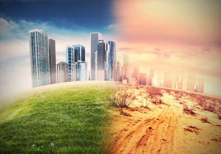 desert sun: Global warming and the end of civilization Stock Photo