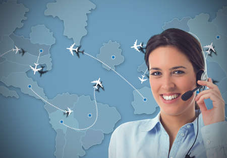 Worker in a call center for airlines Stockfoto