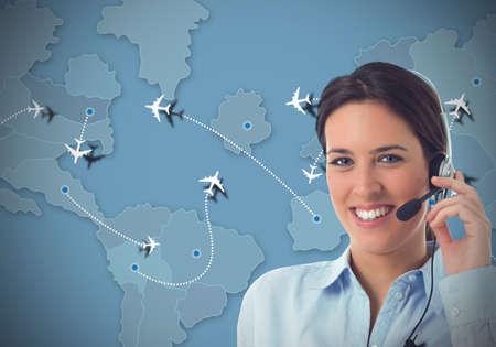 servicio al cliente: Trabajador en un centro de llamadas para las aerolíneas