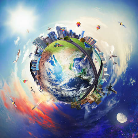 contaminacion del aire: Visi�n global del mundo de los negocios. Foto de archivo