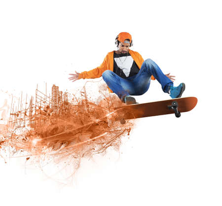speed of sound: Reckless boy doing stunts with his skate