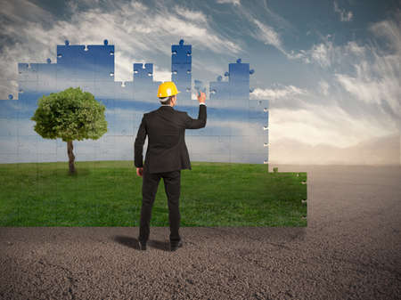 Bouw een nieuwe wereld met de omgeving respect Stockfoto - 37861453