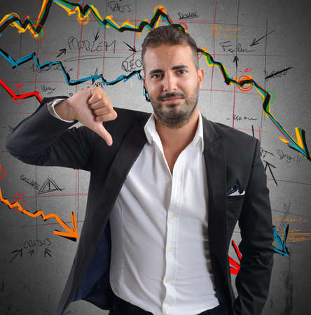 delusion: Businessman unhappy and negative of company results
