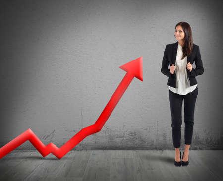 Businesswoman proud of its good financial profit Banque d'images