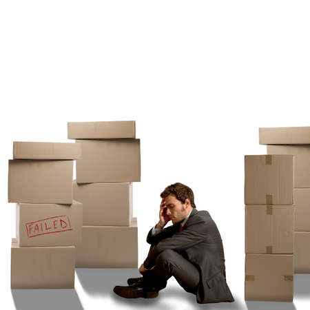 accusations: Sad businessman unemployed fired from his job Stock Photo